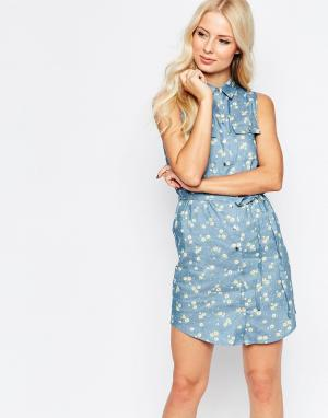 Parisian Джинсовое платье-рубашка с принтом. Цвет: синий