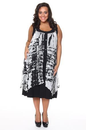Свободное платье с принтом Alain Weiz. Цвет: черный, белый