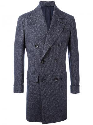 Пальто с заостренными лацканами Kiton. Цвет: синий