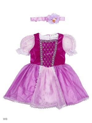 Карнавальный костюм Принцесса Белоснежка Батик. Цвет: синий, желтый, красный
