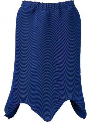 Плиссированная юбка с неравномерным подолом Issey Miyake. Цвет: синий