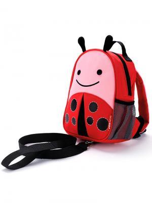 Рюкзак детский с поводком Божья коровка SkipHop. Цвет: красный, розовый