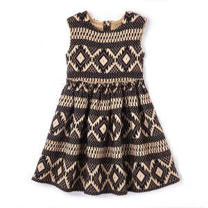 Платье-клеш с блестящим рисунком 3-12 лет La Redoute Collections. Цвет: черный/золотистый