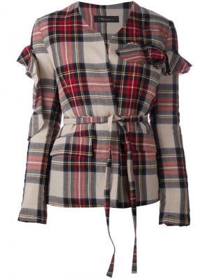 Куртка в клетку с оборками на рукавах Barbara Bologna. Цвет: красный