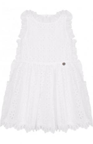 Кружевное платье с оборкой Simonetta. Цвет: белый