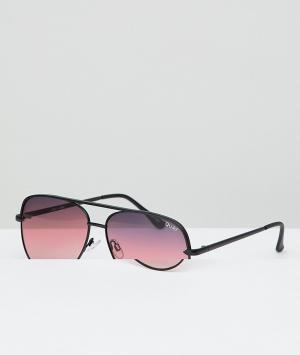 Quay Australia Черные матовые солнцезащитные очки-авиаторы X Desi Saha. Цвет: черный