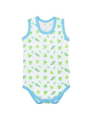 Боди-майка Веселый малыш. Цвет: светло-зеленый, белый, голубой