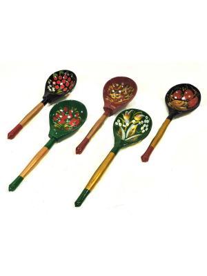 Набор столовых ложек Расписной Taowa. Цвет: зеленый, красный, черный
