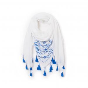 Платок с вышивкой La Redoute Collections. Цвет: синий/ белый