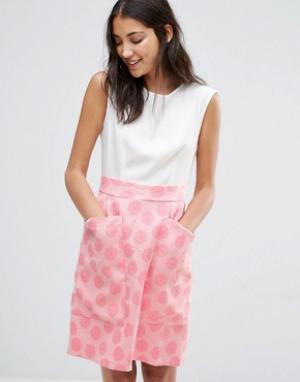Closet London Контрастное жаккардовое платье с большими карманами. Цвет: мульти