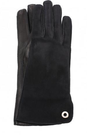 Перчатки Jacqueline из кожи и замши Loro Piana. Цвет: темно-серый