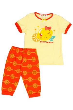 Комплект: футболка, бриджи Kidly. Цвет: желто-оранжевый