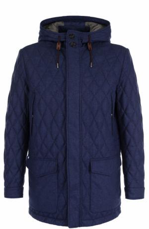 Стеганая куртка на молнии из смеси шерсти и шелка с кашемиром Ermenegildo Zegna. Цвет: синий