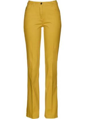 Расклешенные стрейтчевые брюки (лимонный карри) bonprix. Цвет: лимонный карри
