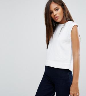 Waven Tall Укороченный джинсовый топ Tini. Цвет: белый