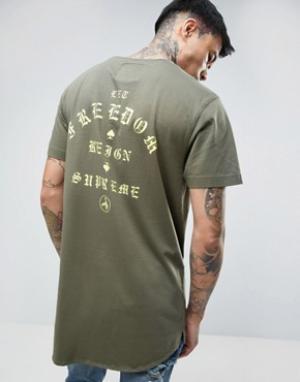Cayler & Sons Удлиненная футболка с принтом на спине. Цвет: зеленый