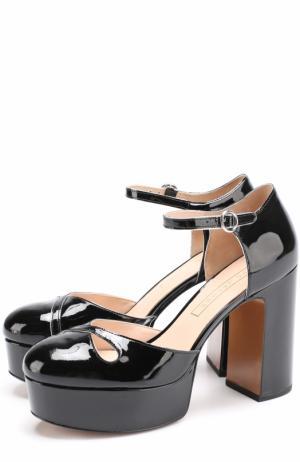 Лаковые туфли на устойчивом каблуке и платформе Marc Jacobs. Цвет: черный