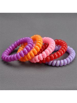 Комплект Резинок-Пружинок для волос 5 шт/уп Колечки. Цвет: сиреневый, красный, оранжевый, розовый, фиолетовый