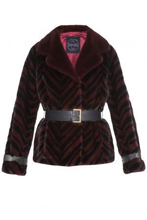 Норковая шубка с ремнем K4260 Giuliana Teso. Цвет: красный