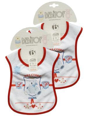 Набор слюнявчинов 2 шт Bebitof Baby. Цвет: красный