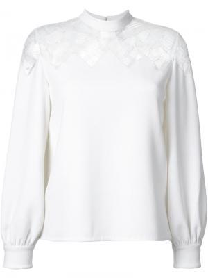 Блузка с прозрачной кружевной панелью Huishan Zhang. Цвет: белый