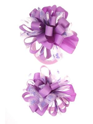 Банты из ленты на резинке в сердечко-бантик, фиолетовый, набор 2 шт Радужки. Цвет: фиолетовый