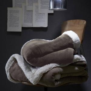 Плед из искусственного меха, Poilux LA REDOUTE. Цвет: светло-серо-коричневый,сине-серый