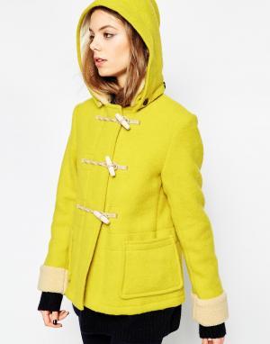 Gloverall Короткий дафлкот со съемным капюшоном. Цвет: желтый