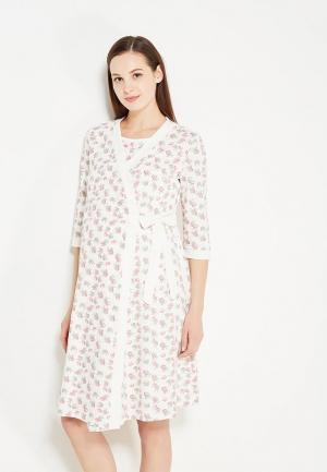 Комплект сорочка и халат Hunny mammy. Цвет: белый