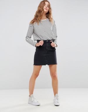 ASOS Черная выбеленная джинсовая мини‑юбка. Цвет: черный