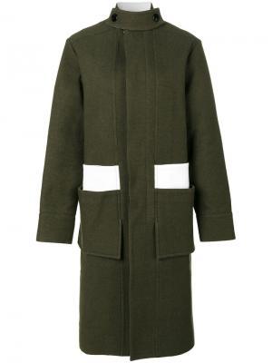 Пальто с контрастными вставками Marni. Цвет: зелёный