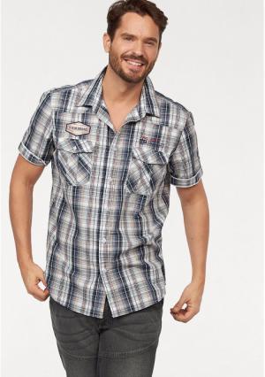 Рубашка с короткими рукавами MANS WORLD MAN'S. Цвет: синий/белый в клетку
