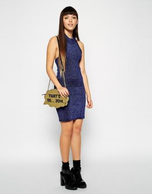 ASOS Трикотажная юбка с эффектом металлик Co-ord. Цвет: темно-синий