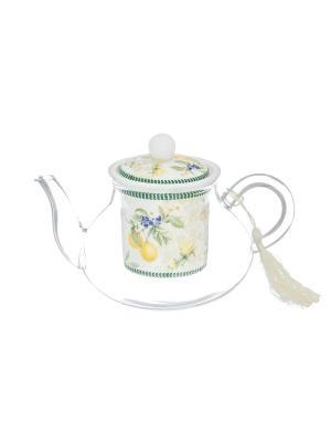 Чайник с ситом Лимоны Elan Gallery. Цвет: белый, желтый, зеленый