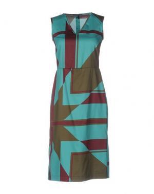 Платье до колена LAURA URBINATI. Цвет: зеленый-милитари