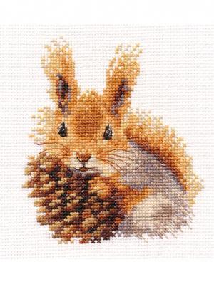 Набор для вышивания Белочка 11 х12 см, Алиса. Цвет: коричневый, светло-серый, серый