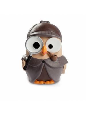 Керамическая статуэтка сова Шерлок Холмс Goofi. Цвет: коричневый