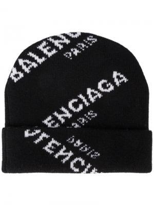 Вязаная шапка с логотипом в технике интарсия Balenciaga. Цвет: чёрный