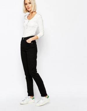 Weekday Джинсы с узкими штанинами и завышенной талией Way. Цвет: черный