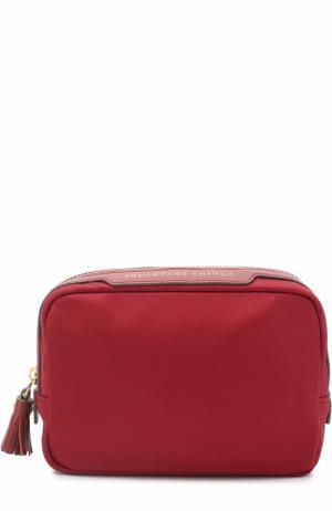 Текстильная косметичка с кожаной отделкой Anya Hindmarch. Цвет: бордовый
