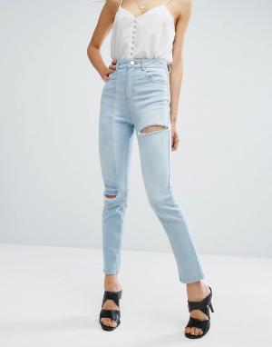 ASOS Узкие джинсы в винтажном стиле. Цвет: синий