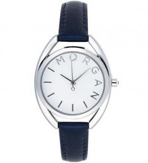 Часы из нержавеющей стали с синим кожаным браслетом Morgan
