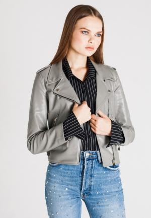 Куртка кожаная UNNA. Цвет: серый