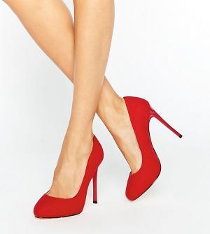 Faith Wide Fit Красные туфли‑лодочки для широкой стопы. Цвет: красный