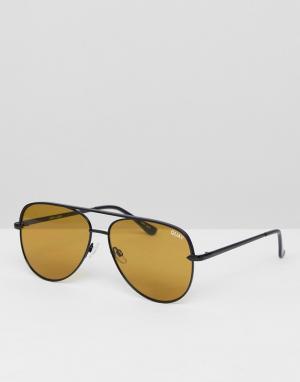 Quay Australia Солнцезащитные очки-авиаторы черного/оливкового цвета S. Цвет: черный