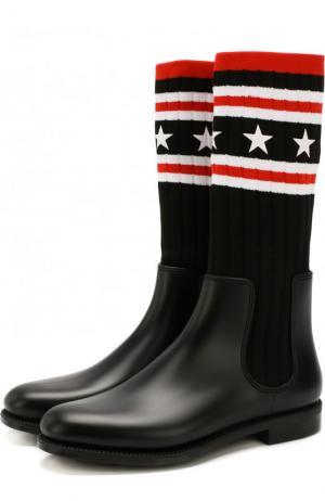 Резиновые сапоги с вязаной вставкой Givenchy. Цвет: черный