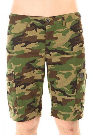 Шорты классические  Cargo Shorts Strap Street Camo Skills. Цвет: зеленый,коричневый,черный