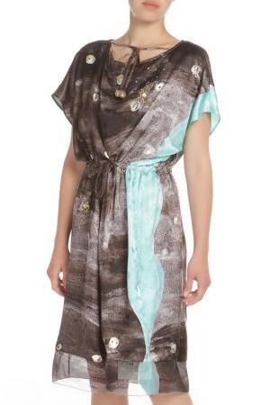 Свободное платье с отделкой пайетки Tsumori Chisato. Цвет: темно-серый