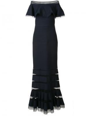 Вечернее платье с открытыми плечами Tadashi Shoji. Цвет: синий