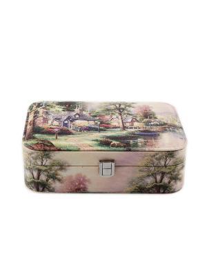 Шкатулка для ювелирных украшений Русские подарки. Цвет: зеленый,бледно-розовый,кремовый
